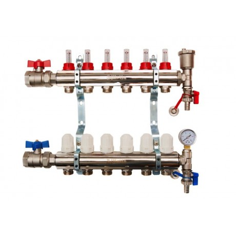 6-Waybrass/nickel plated manifold including 12 x pipe connectors