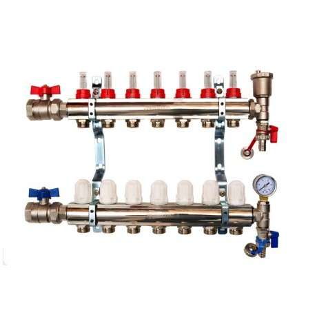 7-Way brass/nickel plated manifold including 14 x pipe connectors