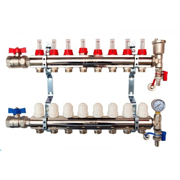 8-Way brass/nickel plated manifold including 16 x pipe connectors