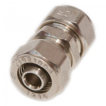 Straight Male-Male joint nickel plated + 2 x pipe connector