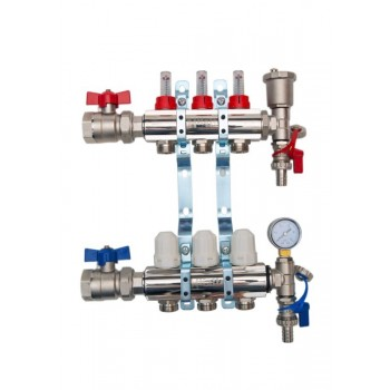 3-Way brass/nickel plated manifold