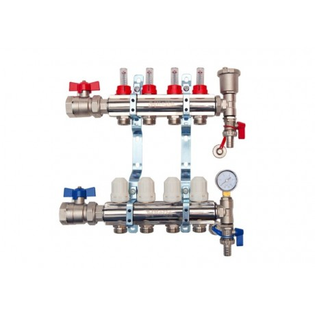 4-Way brass/nickel plated manifold including 8 x pipe connectors